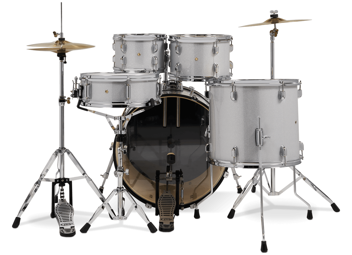 PDCE2215KTDW - Center Stage - Diamond White Sparkle – 5-Piece Complete Kit - Player Perspective