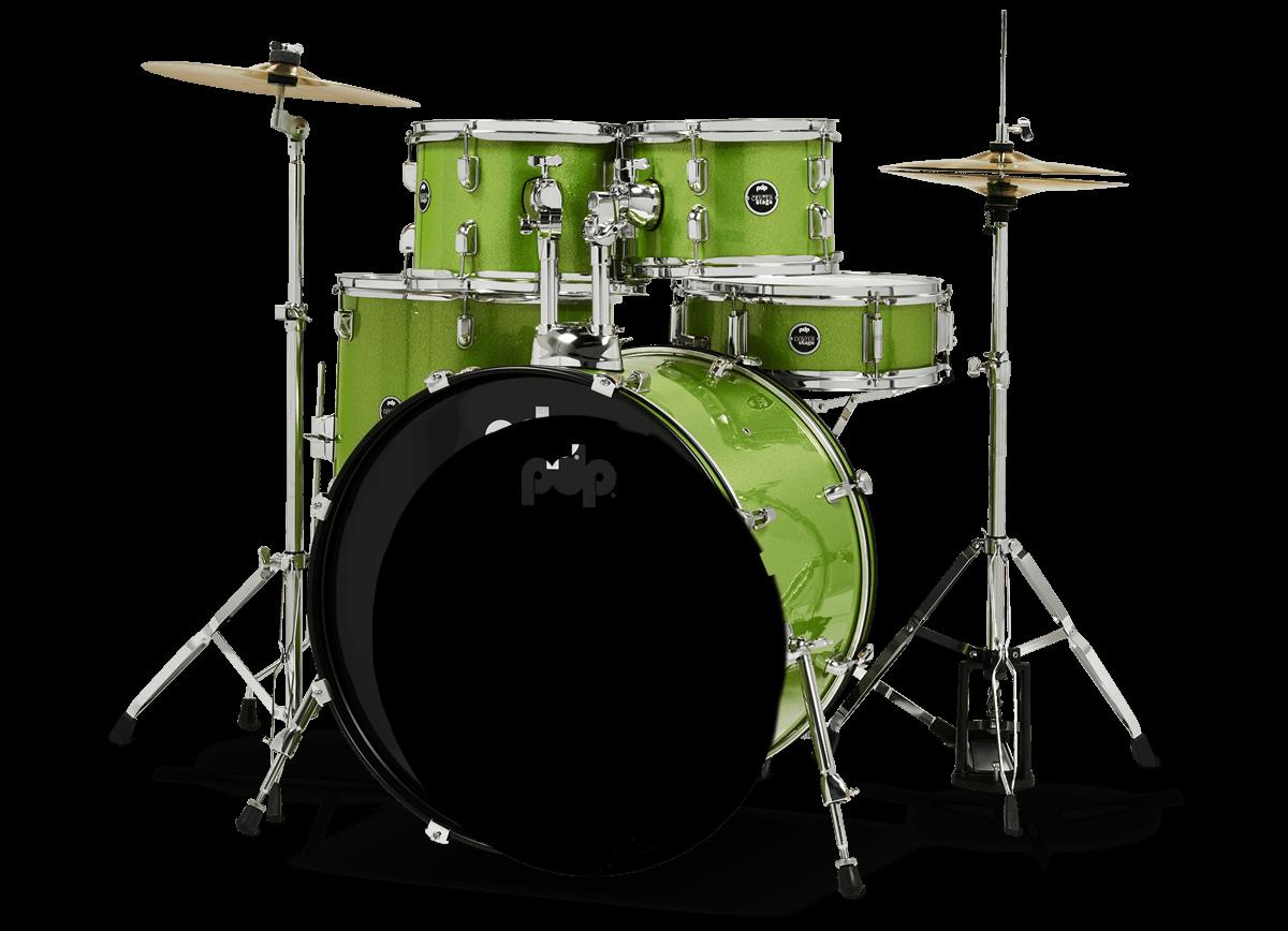 PDCE2215KTEL - Center Stage - Electric Green Sparkle – 5-Piece Complete Kit - Left