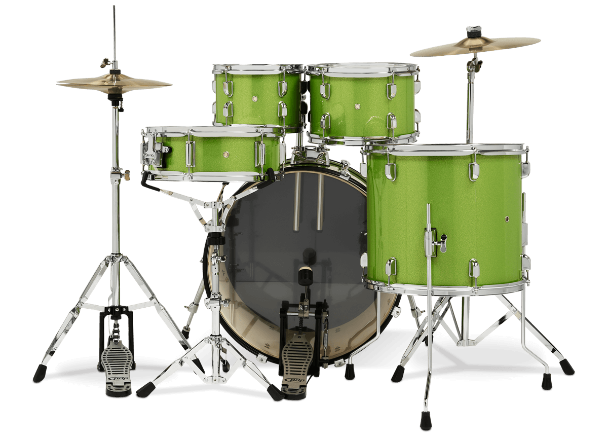 PDCE2215KTEL - Center Stage - Electric Green Sparkle – 5-Piece Complete Kit - Player Perspective