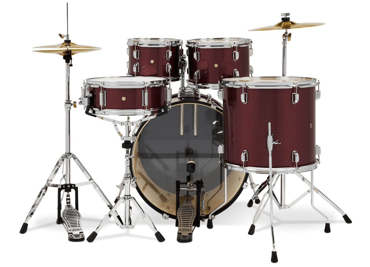 PDCE2215KTERR - Center Stage - Ruby Red Sparkle – 5-Piece Complete Kit - Player Perspective