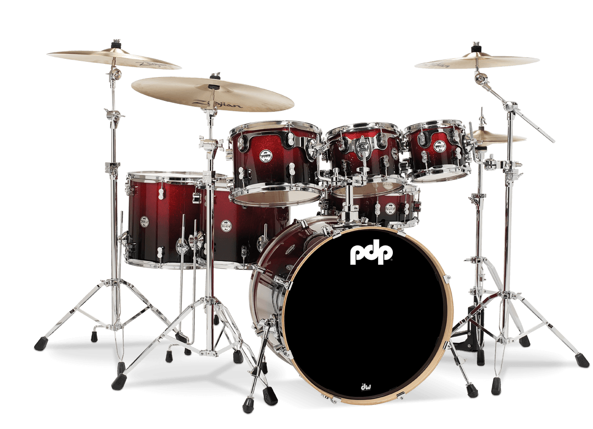 PDCM2217RB - Concept™ Maple - Red to Black Fade - 7-Piece Kit