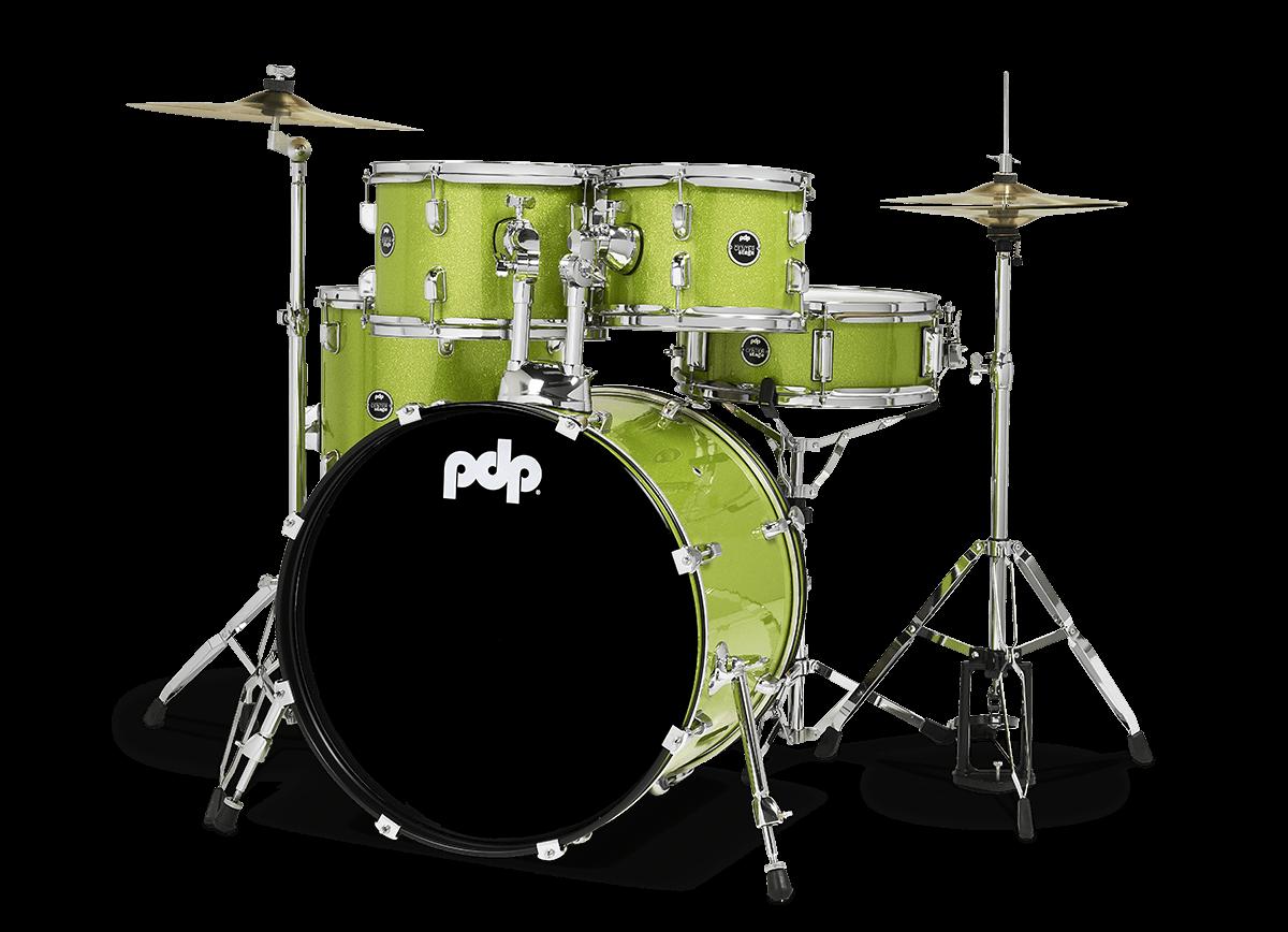"PDCE2015KTEL - 20"" Kick 5-Piece - Electric Green Sparkle - Left"