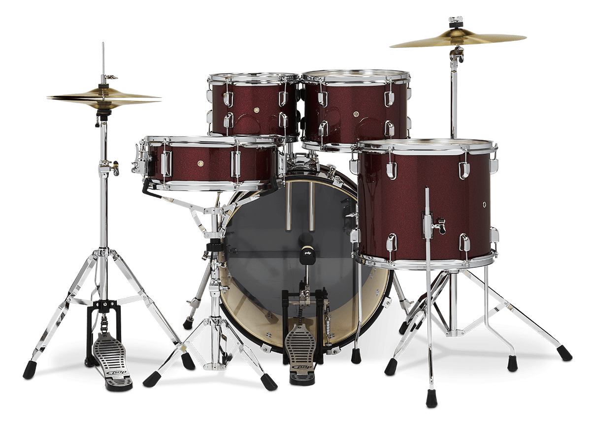"PDCE2015KTRR - 20"" Kick 5-Piece - Ruby Red Sparkle - Perspective"